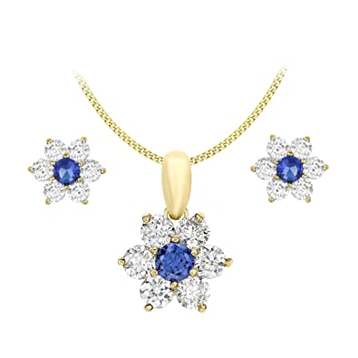 Carissima Gold 9ct Yellow Gold Blue and White Cubic Zirconia Flower Earrings and Pendant on Chain of 46cm/18""