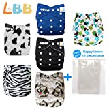 Baby Double Rows of Snaps 6pcs Pack Fitted Pocket Washable Adjustable Cloth Diaper(Netural Color)6BM98 (Color: AMCow, Tamaño: One Size)