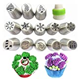 NEW Russian Piping Tips Xmas Design 14pcs/Set -13 Russian Tips +1 Coupler/ Large Size Icing Piping Nozzle Tips (Color: Silver, Tamaño: 14pcs Christmas Edition Tips)