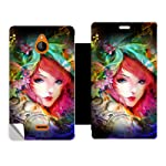 Skintice Designer Flip Cover with a hi res printed Vinyl Wrap around for Nokia X2, Design Neon Girl