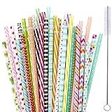 ?35 Packs?Reusable Plastic Straws,MCIRCO Multi-colored 9 Inch Thick Drinking Straws for 30 oz & 20 oz Yeti, RTIC, Mason Jar, Starbucks, OZARK Tumblers with Cleaning Brush (Color: Plastic Straws)