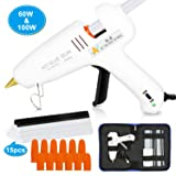 Hot Melt Glue Gun 60/100W Dual Power Glue Gun Kit with Carry Bag and 15pcs Glue Sticks (13 White + 2 Black), 12 Finger Tips for DIY, Craft, Sealing, Light and Heavy Duty, Arts & Home and Repairs. (Color: white)