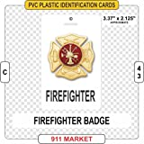 Firefighter Rank ID Tag Plastic Identification FF Badge - C 43 (Color: White)