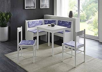 Dreams4Home Eckbankgruppe 'Wolfgang II', Essgruppe 125 x 125 x 82 cm, Vierfußtisch, 2 Stuhle, modern, Eckbank, Kuchentisch, 4-teilig Landhaus Kuche, Polsterung blau weiß gemustert, weiß