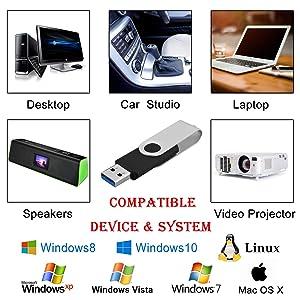 Kootion 3 X 32GB USB 3.0 Flash Drive 32 GB Thumb Dirve Swivel Jump Drive (Color: Black-3 pack, Tamaño: 32GB)