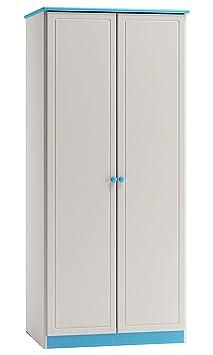 Armoire en bois du pin massif blanc bleu 008 - Dimensions: 160 x 90 x 60 cm