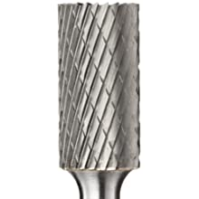 PFERD Cylindrical Carbide Bur, Long-Length, Uncoated (Bright) Finish, Double Cut, End Cut End