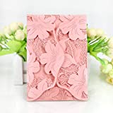 WOMHOPE® 50 Pcs - Lace Petal Wedding Invitation Hollow Laser Cut Lace Shimmer Party Invitations Cards Birthday Invitations Cards Wedding Favors (Pink (White inner sheet)) (Color: Pink (White Inner Sheet))