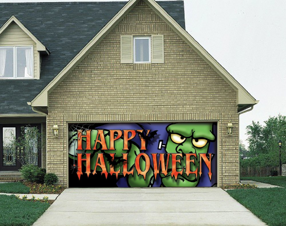 Halloween garage door decor halloween wikii for Christmas garage door mural