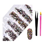 2800Pcs Nail Art AB Crystal Rhinestones - Top Quality Flatback Glass Nail Jewelry Gems with Wax Rhinestone Pen And Tweezers for Nails Decoration Eye DIY Makeup Phone Cases 6 Sizes (Rainbow Rose Gold) (Color: Rainbow Rose Gold, Tamaño: one size)