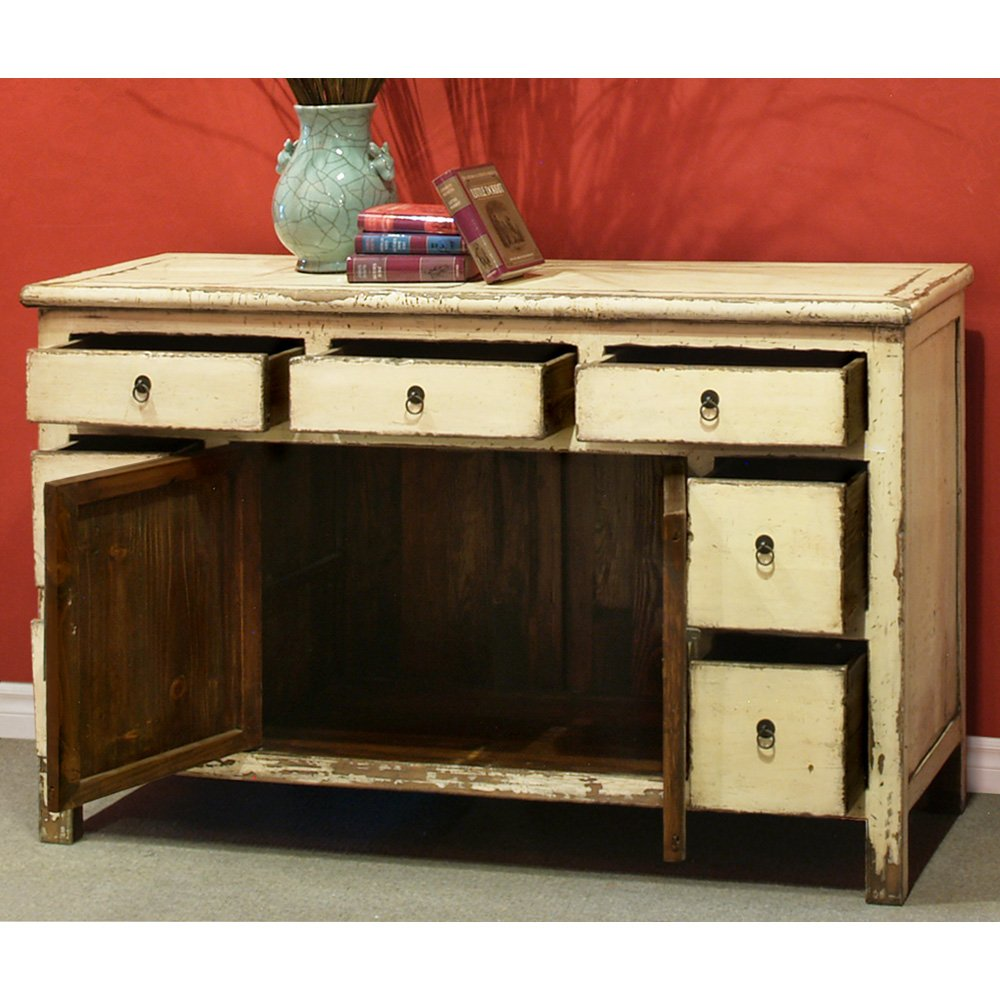 China Furniture Online Elmwood Sideboard, Vintage Hand Crafted Ming Style Cabinet Distressed White Finish 1