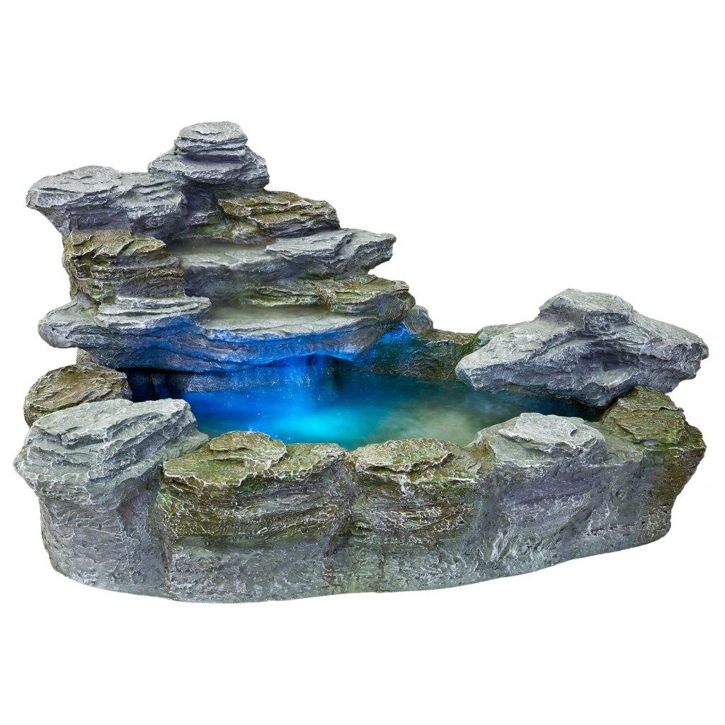 STILISTA® Mystischer Steinoptik Gartenbrunnen OLYMP, 100x80x60, inkl. Pumpe, Beleuchtung rot blau gelb grün