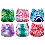 Mama Koala One Size Baby Washable Reusable Pocket Cloth Diapers, 6 Pack with 6 One Size Microfiber Inserts (Tie Dye) (Color: Tie Dye, Tamaño: One Size)