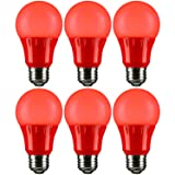 Sunlite A19/3W/R/LED/6PK LED Colored A19 3W Light Bulbs with Medium (E26) Base (6 Pack), Red (Color: Red, Tamaño: 6 Pack)