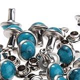 RUBYCA Blue Turquoise Rapid Rivets Studs DIY Leather-Craft for Bag Shoes Bracelet Tandy Leather 8MM 100pcs (Color: 100 Pcs, Tamaño: 8 MM)