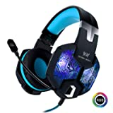 Stereo Gaming Headset with Mic for PC PS4 Xbox One Nintendo Switch,Lightweight Over Ear Headphones 3.5mm Jack for Laptop Mac,USB RGB LED Light & Noise Cancelling Mic Mute & Volume Control (Color: A-G1000-Blue)