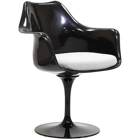 LexMod Black Eero Saarinen Style Tulip Armchair with White Cushion
