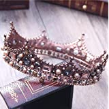 Yean Wedding Crown Bridal Tiara Vintage Pageant Crown for Women and Girls (Color: silver)