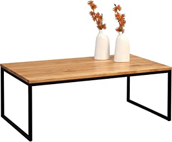 HomeTrends4You 264222 – Mesa, Madera, Madera de Roble maciza barnizada/metal negro mate, 110 x 60 x 43 cm