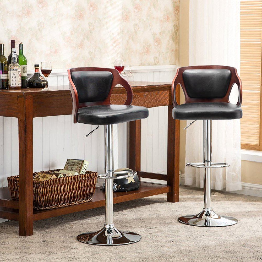 Homall Walnut Bentwood Adjustable Height Leather Bar Stool with Black vinyl seat to decorate your Home,Kitchen,Office Extremely Comfy with seat back pad (Walnut Set of 1)
