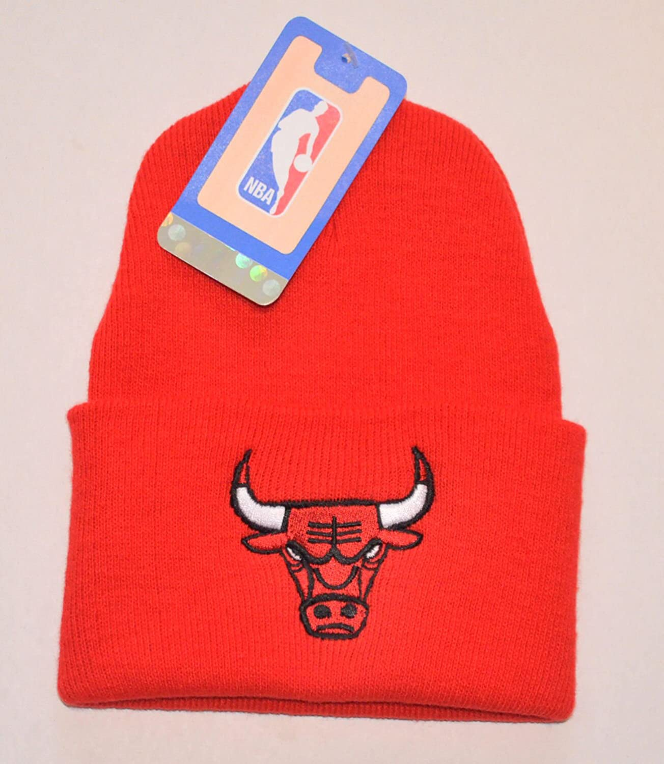 Chicago Bulls Red Logo Only Beanie Hat - NBA Cuffed Knit Toque Cap unisex winter plicate baggy beanie knit crochet ski hat cap red