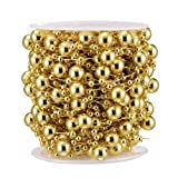 Bingcute 50ft Christmas Tree Beaded Garland Metallic Gold Color Roll of Beads Pearl String of Pearls Bead Chain Beaded Wire Pearl Strands for Decorating Wedding Party Supplies (Gold) (Color: Gold)