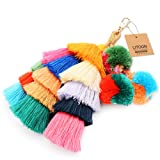 Tassel Pom Pom Key Chain Colorful Boho Charm Key Ring, Fashion Accessories for Women (Color: A-colorful, Tamaño: 9.5 inches)