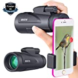 Monocular Telescope High Powered BAK4 Prism 12X50-Waterproof Fog-Proof with Smartphone Adapter & Tripod for Cell Phone for Bird Watching, Hiking (12x50) (Color: Clear, Tamaño: 12x50)