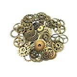 Yueton 100 Gram (Approx 70pcs) Assorted Antique Steampunk Gears Charms Pendant Clock Watch Wheel Gear for Crafting, Jewelry Making Accessory (Bronze) (Color: Bronze)