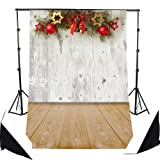 DODOING 3x5ft Village Christmas Bell/Balls/Stars Photography Background Backdrop Wooden Wall Floor for Photo Studio Props 0.9x1.5m (Color: 3x5FT(Christmas Bell/Balls/Stars), Tamaño: 3x5FT)