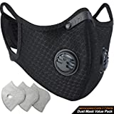 BASE CAMP Dust/Breathing Mask - Activated Carbon Dustproof Mask with Extra Carbon N99 Filters for Pollen Allergy Woodworking Mowing Running Cycling Outdoor Activities (Color: 1Black Mask+3Filter)