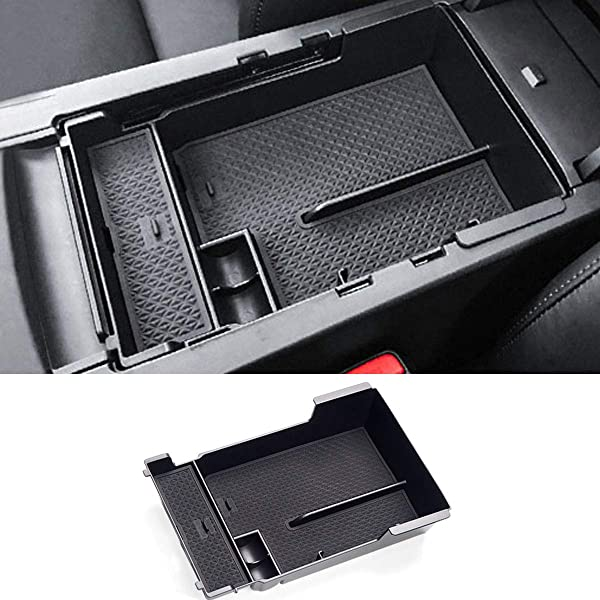 etopmia Car Armrest Box Central Secondary Storage Glove Phone Holder Container Tray Organizer fit Infiniti Q50 2014 2015