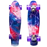 ENKEEO 22 Inch Cruiser Skateboard Plastic Banana Board with Bendable Deck and Smooth PU Casters for Kids Boys Youths Beginners, 220 Ibs. (Galaxy) (Color: Galaxy, Tamaño: 22 inch)