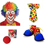 Prextex Halloween Super Clown Accessories Set (4 Pc) Colorful Clown Wig, Red Foam Clown Nose, Polka Dotted Clown Tie, Jumbo Clown Shoes for Halloween Costumes, Carnivals and Parties Accessories