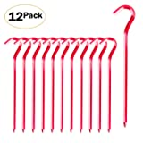 Fanbx Tent Stakes - 12Pcs Aluminium Tent Pegs Stakes Hook - 7'' Hexagon Rod Stakes Nail Spike Garden Stakes Camping Pegs Pitching Camping Tent, Canopies (Color: Red)