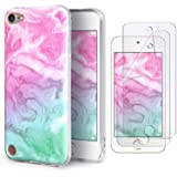 IDWELL iPod Touch Case with 2 Screen Protectors, iPod Touch 7 Touch 6 Touch 5 Case, Slim FIT Anti-Scratch Flexible Soft TPU Bumper Protective Case (Latest Model,2019 Released), Coloful Marble (Color: Coloful Marble)