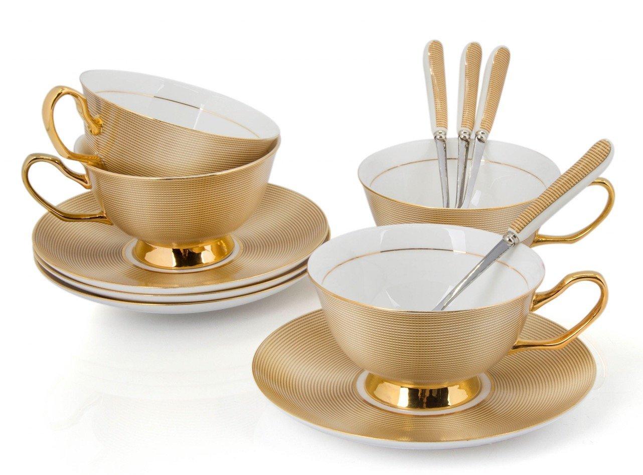 premium tea cup set saucers spoon porcelain coffee cookware kitchen gifts set 4 ebay. Black Bedroom Furniture Sets. Home Design Ideas