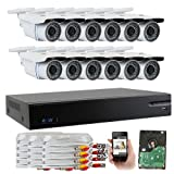 GW Security 16 CH HD-CVI 720P Home Security System with (12) x True HD 720P CCTV Indoor Security Cameras and 1TB HDD