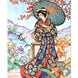 Diamond Painting by Number Kit,Adults Children 5D DIY Diamond Embroidery Full Square Japanese Geisha Girl Puzzle 3444cm