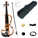 Kinglos 4/4 Solid Wood Advanced Wood Grain Electric / Silent Violin Kit with Ebony Fittings Full Size (MWDS1903) (Color: Mwds1903)