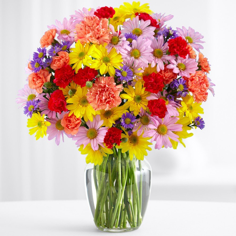ProFlowers - Free Shipping - 100 Blooms of Sunshine (with FREE glass vase) - Mother