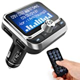 ToHayie Bluetooth FM Transmitter for Car, Transmitter Bluetooth Car Wireless Radio Adapter Hands-Free Car Kit with 1.8 inch Display, Dual USB Car Charger, AUX Input/Output, TF Card Mp3 Player, Silver (Color: Silver-RC)