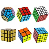 RRecomfit 6-Pack Popular Speed Cube Puzzle – Including 2x2x2 3x3x3 4x4x4 5x5x5 Speedcubing White Puzzle, Megaminx Puzzle Cube Gold Black Mirror Cube (Color: Colorful)