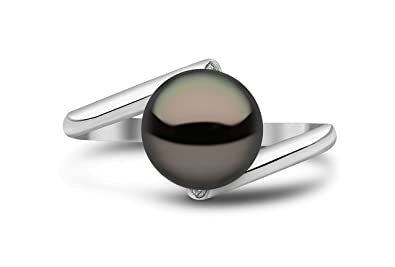 Kimura Pearls 9ct White Gold Black Freshwater Pearl and Diamond Ring - Size M RN0044-301BM