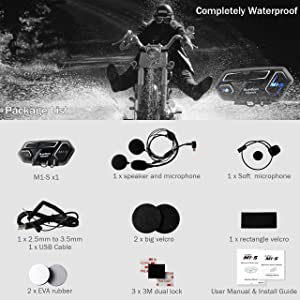 Up to 4 Riders 2000m for Group Motorbike Wireless Universal Helmet Clamp Kit with Mesh Intercom Headset BIBENE Motorcycle Bluetooth 4.1 Intercom BlueRider M1-S Helmet Communication System