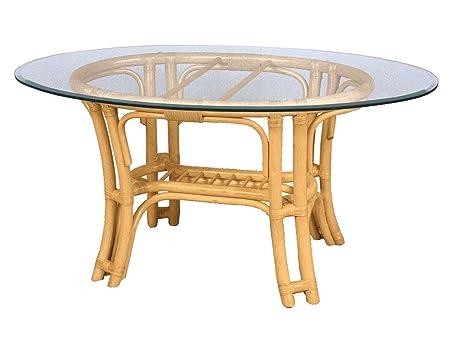 Tischgestell fur Kaffeetisch,Rattan, sierra mit Glasplatte oval 120x80