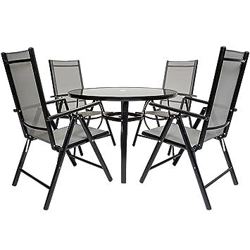 Bentley garden - Salon de jardin 5 pièces - table et chaises - textilène - noir