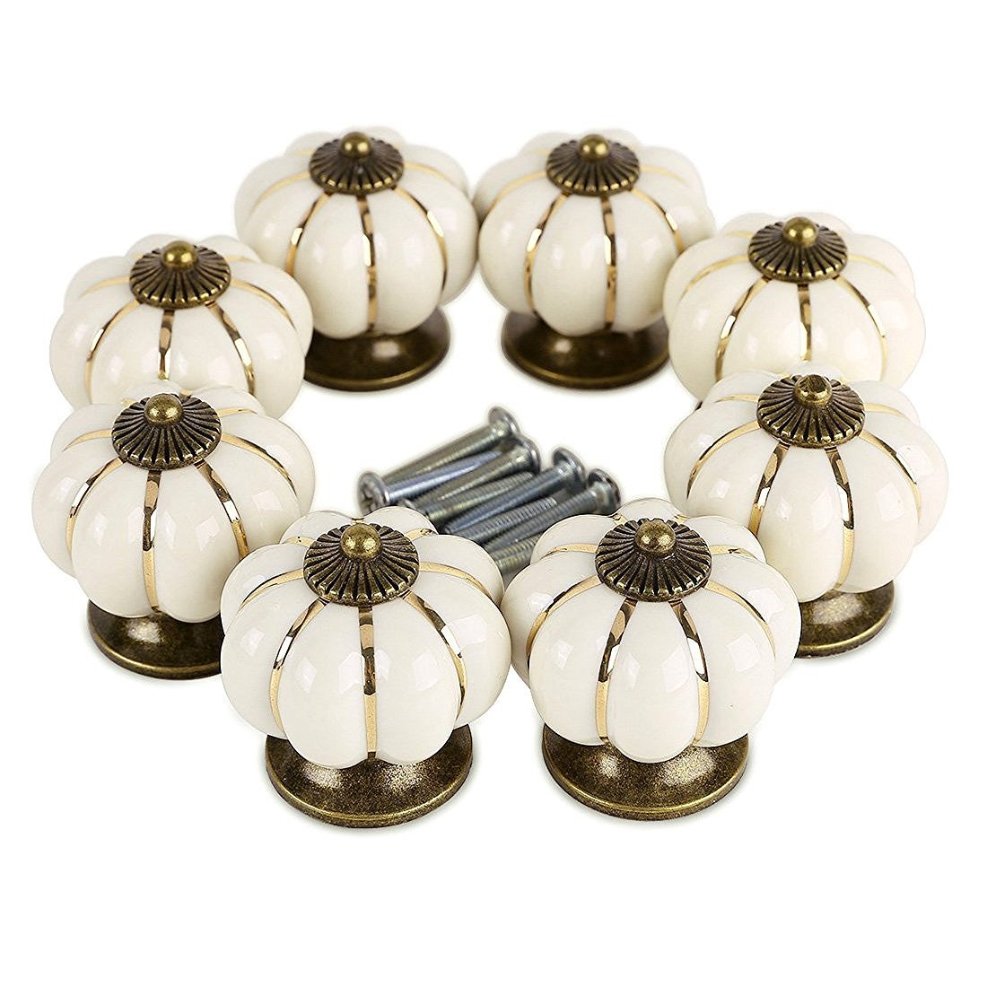Pumpkin Ceramic Drawer Knobs, YIFAN Set of 10 Cabinet Pulls Dresser Cupboard Door Handles - White 0