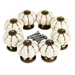 Pumpkin Ceramic Drawer Knobs, YIFAN Set of 10 Cabinet Pulls Dresser Cupboard Door Handles - White