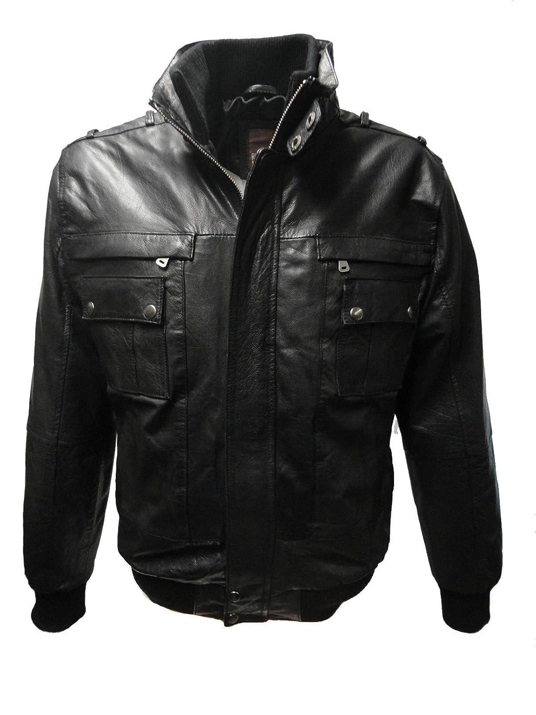 M2091 von RICANO, Echt Nappa Strick Leder Jacke (schwarz) online kaufen